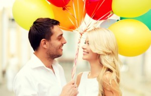 Happy Couple with Balloons