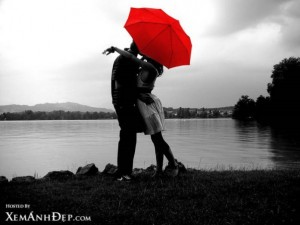 Love under red umbrella