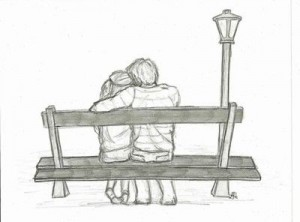 Sketched couple on bench