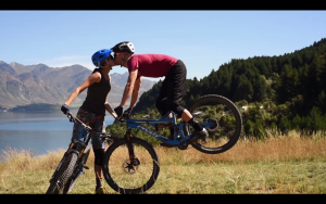mountain biking together
