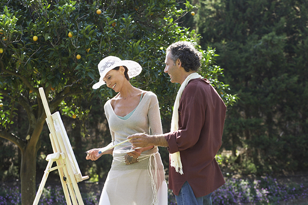 600-01112803 © Masterfile Model Release Couple Painting Together Casares, Spain